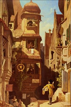 """The Postman in Rosenthal"". (by Carl Spitzweg)."