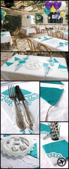 Tischdeko mit Servietten und Wimpelketten