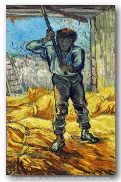 """""""The Thresher (after Millet)"""" by Vincent Van Gogh. Painted in Sept 1889 while in the Saint-Rémy Asylum - Current location: Vincent van Gogh Museum, Amsterdam, Netherlands. Rembrandt, Vincent Van Gogh, Van Gogh Museum, Art Van, Claude Monet, Desenhos Van Gogh, Henri De Toulouse-lautrec, Van Gogh Arte, Theo Van Gogh"""