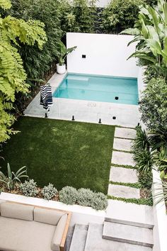 Another pic of our recently photographed Coogee project. A small pool for a really small backyard. This site posed many challenges, mostly… Backyard Inspiration, Small Backyard, Backyard Inspo, Backyard Design, Pool Landscape Design, Small Backyard Design, Small Pool Design, Outdoor Living