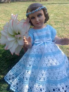 CROCHET - Vestido Niño Dios Toddler Dress, Toddler Outfits, Baby Dress, Baby Blanket Crochet, Crochet Baby, Free Crochet, Jesus Clothes, Little Boy And Girl, Crochet Doll Clothes
