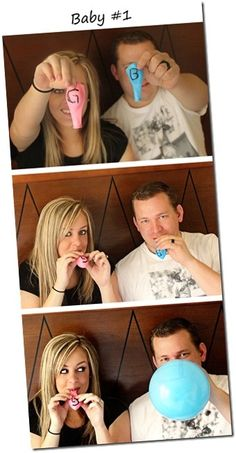 Gender reveal. Cute for twins too: do a   blue & pink, then in third picture all of a sudden TWO pink or blue   balloons! Or both blown up if its B/G!  Expect your phone to be blown   up!