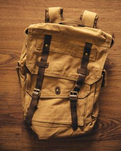 The all important canvas rucksack! This thing is great for school, hiking, a weekend trip, or basically anything else. It's made with genuine leather straps and high quality stitching on heavyweight c