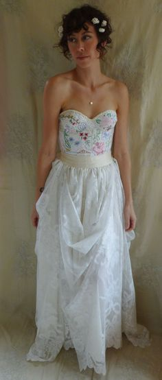 Meadow Bustier Wedding Gown... dress boho whimsical woodland country vintage inspired embroidery free people lace boho corset eco friendly