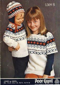 Hans og Grete 1309 Baby Cardigan Knitting Pattern Free, Knitting Patterns Free, Free Pattern, Norwegian Knitting, Knitting For Kids, Christmas Sweaters, Winter Hats, Retro, Children