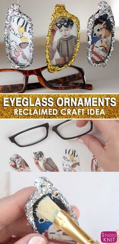 Reclaimed materials are the BEST for making Christmas Ornaments glittery again! Here's how to make glam, vintage, retro Holiday EYEGLASS ORNAMENTS with Studio Knit. #christmasornament