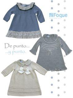 Vestidos para bebé de punto. De la colección de Foque para este otoño-invierno 2014-2015.