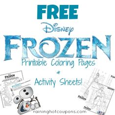 FREE Disney's Frozen Activity & Coloring Sheets