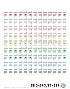 Free Printable Kawaii Coffee Planner Stickers from StickerCuteness