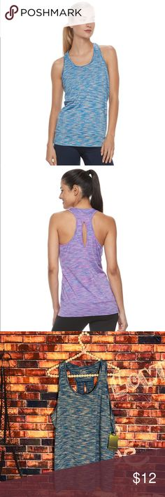 Women's Tek Gear® Space-Dye Banded Racerback Tank PRODUCT FEATURES Space-dyed design Banded hem Dry Tek moisture-wicking technology Crewneck Racerback with keyhole accent FABRIC & CARE Polyester, spandex Machine wash Imported tek gear Tops Tank Tops