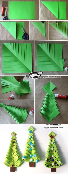 DIY Paper Christmas Trees by toni - Do it yourself .- DIY Paper Christmas Trees von toni – Dekoration Selber Machen DIY Paper Christmas Trees by toni - Diy Paper Christmas Tree, Noel Christmas, Christmas Crafts For Kids, Christmas Activities, Diy Christmas Ornaments, Holiday Crafts, Xmas Trees, Paper Christmas Decorations, Christmas Origami