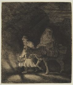 The Flight into Egypt: a Night Piece Rembrandt (Rembrandt van Rijn)  (Dutch, Leiden 1606–1669 Amsterdam) Date: 1651 Medium: Etching; first state Dimensions: image: 5 x 4 3/8 in. (12.7 x 11.1 cm) mount: 19 1/4 x 14 1/4 in. (48.9 x 36.2 cm) Classification: Prints Credit Line: Gift of Felix M. Warburg and his family, 1941 Accession Number: 41.1.52