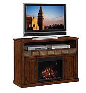 52'' Sedonia Caramel Oak Entertainment Center Electric Fireplace