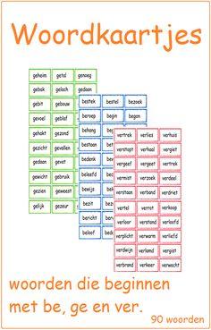 Woordkaartjes met be-, ge- en ver- woorden. Groep 3/4