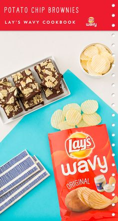 Use LAY'S® Wavy Original Potato Chips to whip up Potato Chip Brownies. Click pin to view the whole recipe.