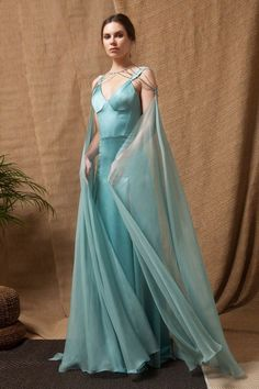 Turquoise Satin Corset Dress with Two-Sides High Slits and a Removable Beading and Mousseline Cape. Royal Dresses, Ball Dresses, Ball Gowns, Corset Dresses, Fantasy Gowns, Fairy Dress, Beautiful Gowns, Costume Design, Pretty Dresses