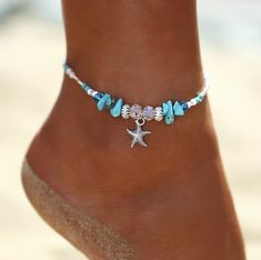 Diy Jewelry Boho Crystal Starfish Anklet Bracelet - Boho Multi 3 piece Anklet Set Specifications: Easy to adjust pull string design and doesn't bother you to wear, super cute! Handmade weave for hand or ankle jewelry with sea wave decor,Turquoise Blue Beach Jewelry, Boho Jewelry, Handmade Jewelry, Jewelry Design, Women Jewelry, Silver Jewelry, Jewelry Ideas, Silver Ring, Gold Rings