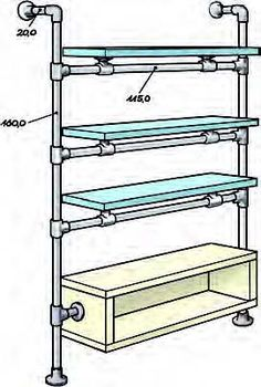 The German DIY magazine, Selber Machen, featured this floating bathroom shelf using pipe, Kee Klamp fittings and some Lack components from Ikea. The shelves have a modern industrial look that will. Diy Garage Storage, Storage Hacks, Wood Shelves, Storage Shelves, Floating Shelves, Diy Shelving, Garage Shelving, Wood Storage, Bathroom Shelf Unit