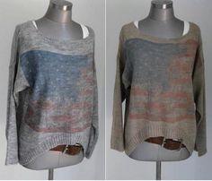 Pullover & Pullunder - FLAGGEN PULLI STARS & STRIPES oversized IN grau - ein Designerstück von secret-of-style bei DaWanda