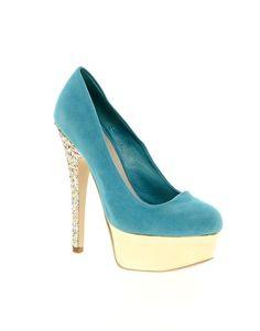 Miss KG: Ramona Platform Glitter Court Shoes in Blue