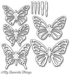 My Favorite Things - Die-namics - Flutter of Butterflies Lace-Butterflies are such a classic and universal design element. Flutter of Butterflies includes five sets of butterfly wings and five coordinating bodies to layer on top. Butterfly Template, Butterfly Crafts, Flower Template, Butterfly Art, Butterfly Cutout, Paper Quilling Flowers, Paper Butterflies, Paper Art, Paper Crafts