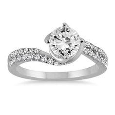 1 1/4 Carat Diamond Engagement Ring in 14K White Gold