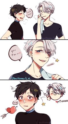 Victor winks at Yuri, Victuri Kuroko No Basket, Yuri No Gelo, Haikyuu, Yuri X Victor, Yuri On Ice Comic, Katsuki Yuri, Comic Anime, ユーリ!!! On Ice, Satsuriku No Tenshi