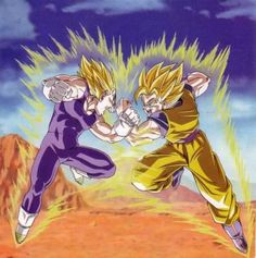 this is a picture of a scene of dragon ball z when goku fights vegeta. it shows dynamic motion because of how they are squared up you can tell a lot of force is going to one side.