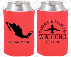 Mexico Wedding Gifts, Coolies, Destination Wedding Favors, Mexico Favors, Cancun Save the Date,  Coozies (184)