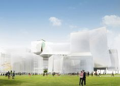 SANAA wins Taichung Cultural Centre competition with proposal for stack of warped cuboids draped with translucent mesh in Taiwan.