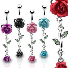 Rose Dangle w/ Metal Rose Navel Ring