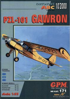 PZL-101 Gawron / Yak-12 (GPM 171), 1:33 paper model, maybe good for RC 1:16 conversion.