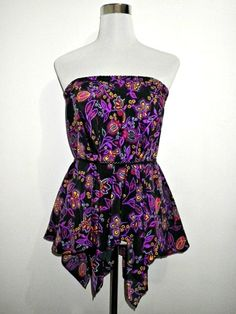 SALE! black and purple Indian floral chintz asymmetrical skirt / tube top by VintageHomage, $13.00