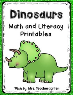 Dinosaur Math and Literacy PrintablesThis packet is full of fun printables to go with your study of dinosaurs. Perfect for Pre-K and Kindergarten students.