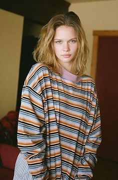 Casual crew neck top from Urban Outfitters in a soft striped cotton fabric. Cut in a perfectly oversized fit with dropped long sleeves and ribbed banding at the crewneck and cuffs. Get it only at UO. Content  Care    Cotton     Machine wash    Imported   Size  Fit    Model in Black is 58 and wearing size Medium    Measurements taken from size Medium      Chest 45     Length 27 Grunge Look, Grunge Style, Tokyo Street Fashion, Aria Montgomery, Dr. Martens, Brandy Melville, Bleach Tie Dye, Surfer Girl Style, Crop Tops