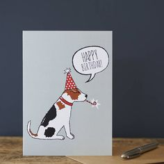 """The perfect birthday card for any Jack Russell lover. Or send direct to a special Terrier on their birthday!We sell a full range of Jack Russell items which may also be of interest including dog tags, cufflinks, aprons, tea towels, mugs, bowls and Christmas cards. Please see our """"sellers complete range"""" for more information.Our cards are designed and made in England. They are printed onto the highest quality silk art card and come with a brown ribbed kraft envelope. They are sealed in a ..."""