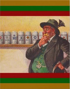 Contemplative Oktoberfest man. Vintage Oktoberfest Invitation. Also perfect for beer gardens, beer festivals and parties.