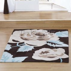 Aspire zaire rugs in chocolate blue buy online from the rug seller uk