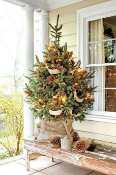 Adorable Christmas tree on the porch!