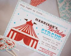 Vintage Big Top Circus Invitation for Birthday Party or Baby Shower Printable DIY Invite by Bee and Daisy