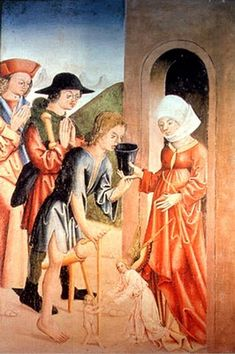 Beguine performing charity, ca. Charity, Catholic, Medieval, Painting, Fictional Characters, Holy Holy, Expressions, Middle Ages, Profile