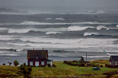 Stormy day in Nova Scotia. Lunenburg Nova Scotia, Annapolis Valley, Rough Seas, Atlantic Canada, Seaside Village, Visit Canada, Cape Breton, Surfer, Prince Edward Island