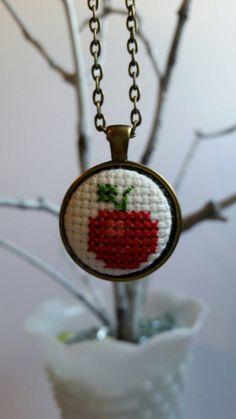 Crossstitch apple pendant necklace handmade by mydisheveledducks