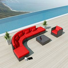 NEW Uduka Prague 8pcs Outdoor Red Round Sectional Patio Furniture Espresso Brown Wicker Sofa Set All Weather Couch Uduka http://www.amazon.com/dp/B00THON7R8/ref=cm_sw_r_pi_dp_en0bvb1NB49K4