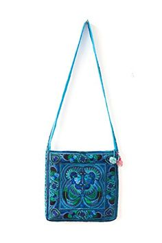 Changnoi Ethnic Bag Blue Birds Hmong Purse Hill Tribe CrossOver Embroidered Thai Fair Trade *** Check out this great product.