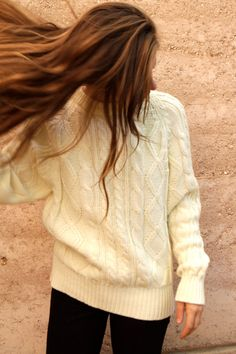cable knit sweater. I'm gonna have to hit the thrift shops!
