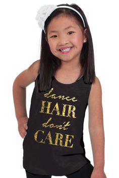 Dance Hair Don't Care Black Flowy Slub Tank- Child