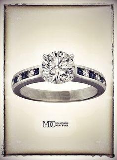 Diamond & Sapphires Engagement Ring