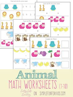 Practice addition and subtraction with these fun animal math worksheets!