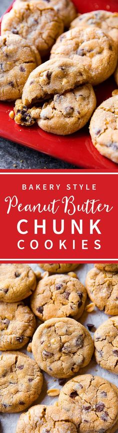 Soft peanut butter cookies! Big and bakery-style peanut butter chocolate chip cookies on sallysbakingaddiction.com